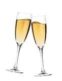 champagne hurrar exponeringsglas två Fotografering för Bildbyråer