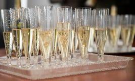 Champagne i exponeringsglas Arkivbild