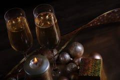 Champagne i exponeringsglas Fotografering för Bildbyråer