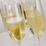 Champagne i exponeringsglas på en tabell Arkivbilder