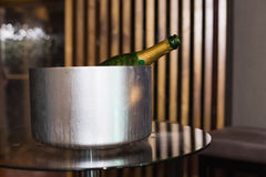 Champagne in an ice bucket Stock Photo