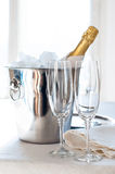 Champagne in an ice bucket Stock Images