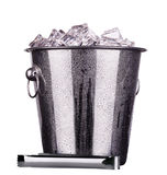 Champagne ice bucket. Champagne Metal ice bucket isolated on a white baclground stock photography