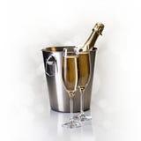 Champagne imbottiglia il secchio con i vetri di champagne Fotografia Stock Libera da Diritti