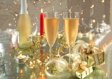Free Champagne In Glasses, Gift Box And Lights Royalty Free Stock Image - 20665536