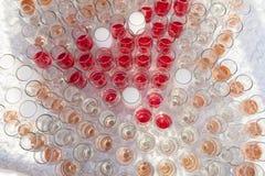 champagne inramninga exponeringsglas som skjutas horisontal Fotografering för Bildbyråer