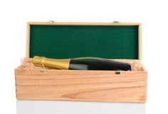 Champagne Inside Gift Box Royalty Free Stock Photography
