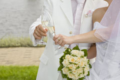 Champagne in just-married couple's glasses Stock Photos