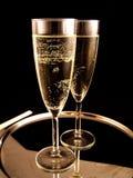 Champagne klaar voor de nieuwe Partij van het Jaar royalty-vrije stock afbeeldingen