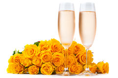 Champagne and a large bouquet of roses Royalty Free Stock Photography
