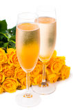 Champagne and a large bouquet of roses Royalty Free Stock Photo