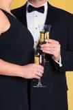 Champagne, legame nero e rossetto Fotografie Stock