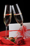 Champagne  and letter Stock Image