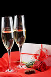 Champagne  and letter Stock Images
