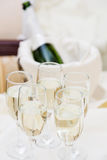 Champagne with light snack serving on wecome Stock Image