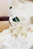 Champagne with light snack serving on wecome Royalty Free Stock Image