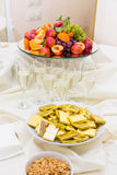 Champagne with light snack serving on wecome Stock Photo