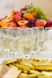 Champagne with light snack serving on wecome Royalty Free Stock Photography
