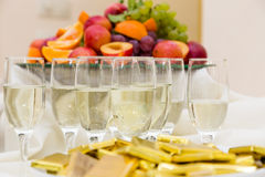 Champagne with light snack serving on wecome Stock Photos