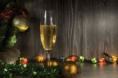 Champagne and lights royalty free stock image