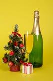 Champagne, litet gran-träd i kruka och gåvaask Fotografering för Bildbyråer