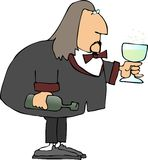 Champagne man. This illustration depicts a man holding a bottle and glass of champagne Stock Photos