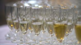 Champagne. many champagne Flutes with Sparkling Champagne. Over new year party Background stock video footage