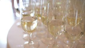 Champagne. many champagne Flutes with Sparkling Champagne. Over new year party Background stock video