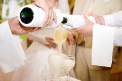 Champagne, mariage, restaurant Photos stock