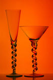 Champagne and martini glasses Stock Images