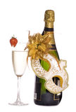 Champagne and masquerade mask Royalty Free Stock Photography