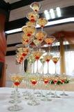 Champagne med körsbäret Royaltyfri Fotografi
