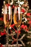 Champagne met Kerstmis stock foto's
