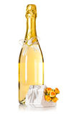 Champagne mit Hochzeitsdekor und -geschenk Stockbilder