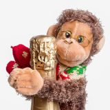 Champagne and monkey toy Stock Images