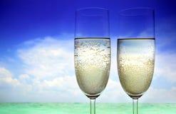 Champagne na praia Fotos de Stock