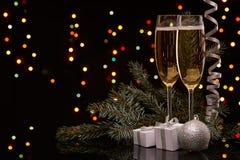 Champagne Neues Jahr und Weihnachten Stockfoto