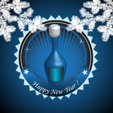 Champagne for New Year. Abstract colorful illustration with a blue bottle of champagne kept especially for the New Year. Happy New Year Royalty Free Stock Image