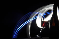 Champagne on New Year's Eve. Fajerwerek flares. New Year's greetings. Happiness Stock Photography