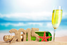 Champagne and New year sign Stock Image