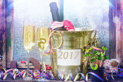 Champagne New Year & x27; véspera de s, ano novo 2017 Foto de Stock Royalty Free