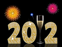 Champagne new year2012. New year background with champagne glass and fireworks vector illustration