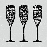Champagne New Years lettering. Modern calligraphy set on champagne glass shape typography elements. Its time for champagne Champagne is always the answer royalty free illustration