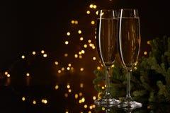 Champagne nytt år för jul fotografering för bildbyråer