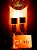 Champagne- och guldmeddelandeetikett 2016 Royaltyfri Bild