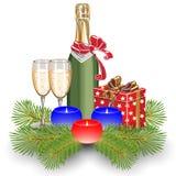 Champagne och stearinljus stock illustrationer