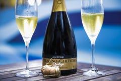 Champagne op het dek stock foto's