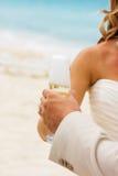 Champagne op het strand Stock Foto