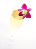 Champagne with orchid Stock Photos