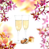 Champagne and orchid Royalty Free Stock Images
